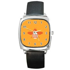 Littlebutterfly Illustrations Bee Wasp Animals Orange Honny Square Metal Watch