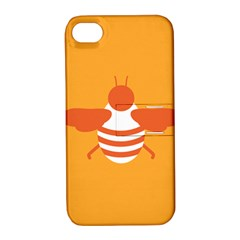 Littlebutterfly Illustrations Bee Wasp Animals Orange Honny Apple iPhone 4/4S Hardshell Case with Stand