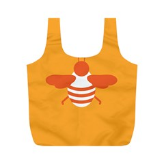 Littlebutterfly Illustrations Bee Wasp Animals Orange Honny Full Print Recycle Bags (M)