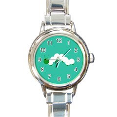 Little Butterfly Illustrations Caterpillar Green White Animals Round Italian Charm Watch