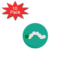Little Butterfly Illustrations Caterpillar Green White Animals 1  Mini Buttons (10 Pack)