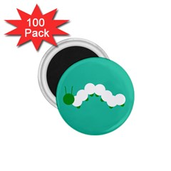Little Butterfly Illustrations Caterpillar Green White Animals 1.75  Magnets (100 pack)