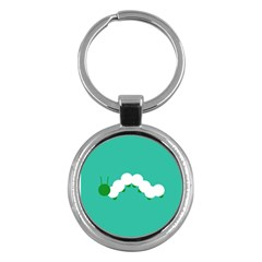 Little Butterfly Illustrations Caterpillar Green White Animals Key Chains (Round)