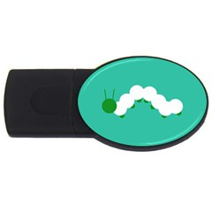 Little Butterfly Illustrations Caterpillar Green White Animals Usb Flash Drive Oval (2 Gb)