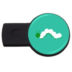 Little Butterfly Illustrations Caterpillar Green White Animals USB Flash Drive Round (4 GB)