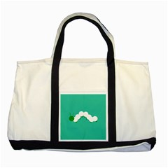 Little Butterfly Illustrations Caterpillar Green White Animals Two Tone Tote Bag