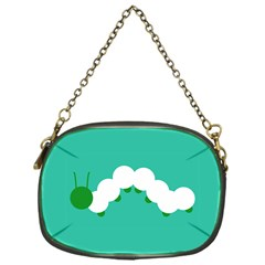 Little Butterfly Illustrations Caterpillar Green White Animals Chain Purses (One Side)