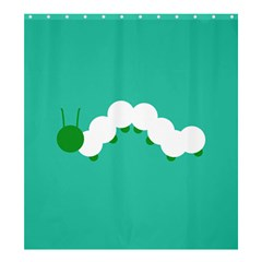 Little Butterfly Illustrations Caterpillar Green White Animals Shower Curtain 66  x 72  (Large)