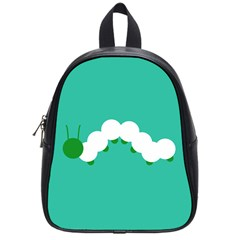 Little Butterfly Illustrations Caterpillar Green White Animals School Bags (Small)