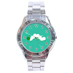 Little Butterfly Illustrations Caterpillar Green White Animals Stainless Steel Analogue Watch