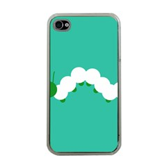 Little Butterfly Illustrations Caterpillar Green White Animals Apple iPhone 4 Case (Clear)