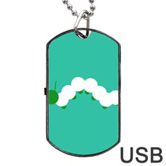 Little Butterfly Illustrations Caterpillar Green White Animals Dog Tag USB Flash (One Side)