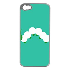 Little Butterfly Illustrations Caterpillar Green White Animals Apple iPhone 5 Case (Silver)