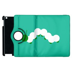 Little Butterfly Illustrations Caterpillar Green White Animals Apple iPad 3/4 Flip 360 Case