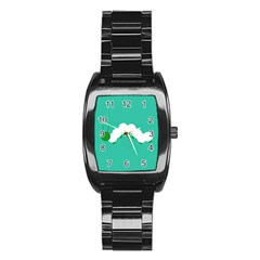 Little Butterfly Illustrations Caterpillar Green White Animals Stainless Steel Barrel Watch