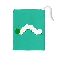Little Butterfly Illustrations Caterpillar Green White Animals Drawstring Pouches (Large)