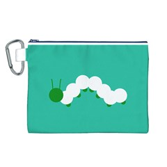 Little Butterfly Illustrations Caterpillar Green White Animals Canvas Cosmetic Bag (L)