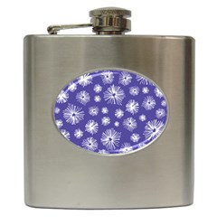 Aztec Lilac Love Lies Flower Blue Hip Flask (6 oz)