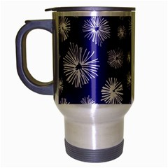 Aztec Lilac Love Lies Flower Blue Travel Mug (Silver Gray)