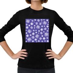 Aztec Lilac Love Lies Flower Blue Women s Long Sleeve Dark T-Shirts