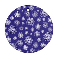 Aztec Lilac Love Lies Flower Blue Round Ornament (Two Sides)