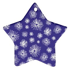 Aztec Lilac Love Lies Flower Blue Star Ornament (Two Sides)