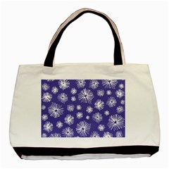 Aztec Lilac Love Lies Flower Blue Basic Tote Bag (Two Sides)