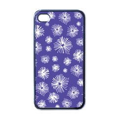 Aztec Lilac Love Lies Flower Blue Apple iPhone 4 Case (Black)