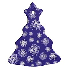Aztec Lilac Love Lies Flower Blue Christmas Tree Ornament (Two Sides)