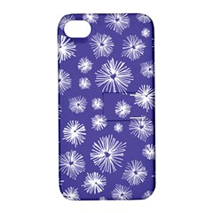 Aztec Lilac Love Lies Flower Blue Apple iPhone 4/4S Hardshell Case with Stand