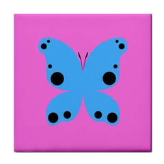 Pink Blue Butterfly Animals Fly Tile Coasters