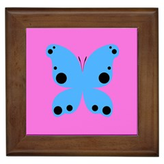 Pink Blue Butterfly Animals Fly Framed Tiles