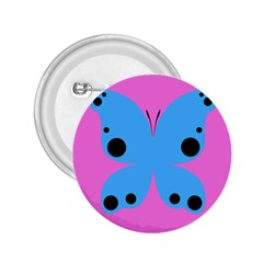 Pink Blue Butterfly Animals Fly 2.25  Buttons