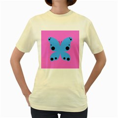 Pink Blue Butterfly Animals Fly Women s Yellow T-Shirt