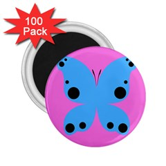 Pink Blue Butterfly Animals Fly 2 25  Magnets (100 Pack)