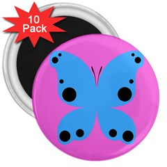 Pink Blue Butterfly Animals Fly 3  Magnets (10 pack)