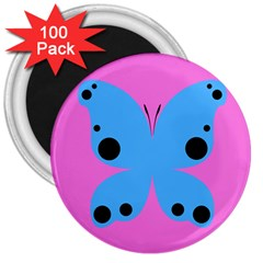 Pink Blue Butterfly Animals Fly 3  Magnets (100 Pack)