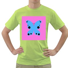 Pink Blue Butterfly Animals Fly Green T-Shirt
