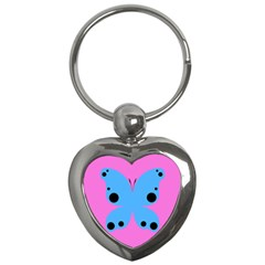 Pink Blue Butterfly Animals Fly Key Chains (Heart)