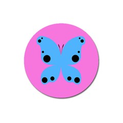 Pink Blue Butterfly Animals Fly Magnet 3  (Round)