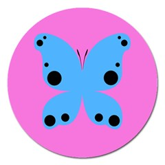 Pink Blue Butterfly Animals Fly Magnet 5  (Round)