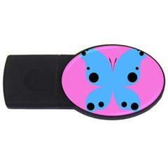 Pink Blue Butterfly Animals Fly Usb Flash Drive Oval (2 Gb)