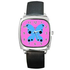 Pink Blue Butterfly Animals Fly Square Metal Watch