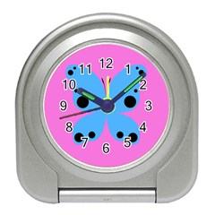 Pink Blue Butterfly Animals Fly Travel Alarm Clocks