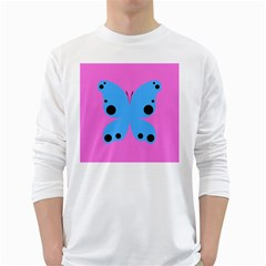 Pink Blue Butterfly Animals Fly White Long Sleeve T Shirts