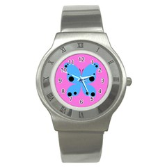 Pink Blue Butterfly Animals Fly Stainless Steel Watch