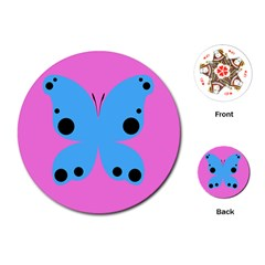 Pink Blue Butterfly Animals Fly Playing Cards (Round)
