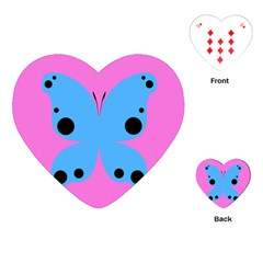 Pink Blue Butterfly Animals Fly Playing Cards (Heart)