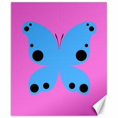 Pink Blue Butterfly Animals Fly Canvas 8  x 10