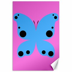 Pink Blue Butterfly Animals Fly Canvas 24  x 36